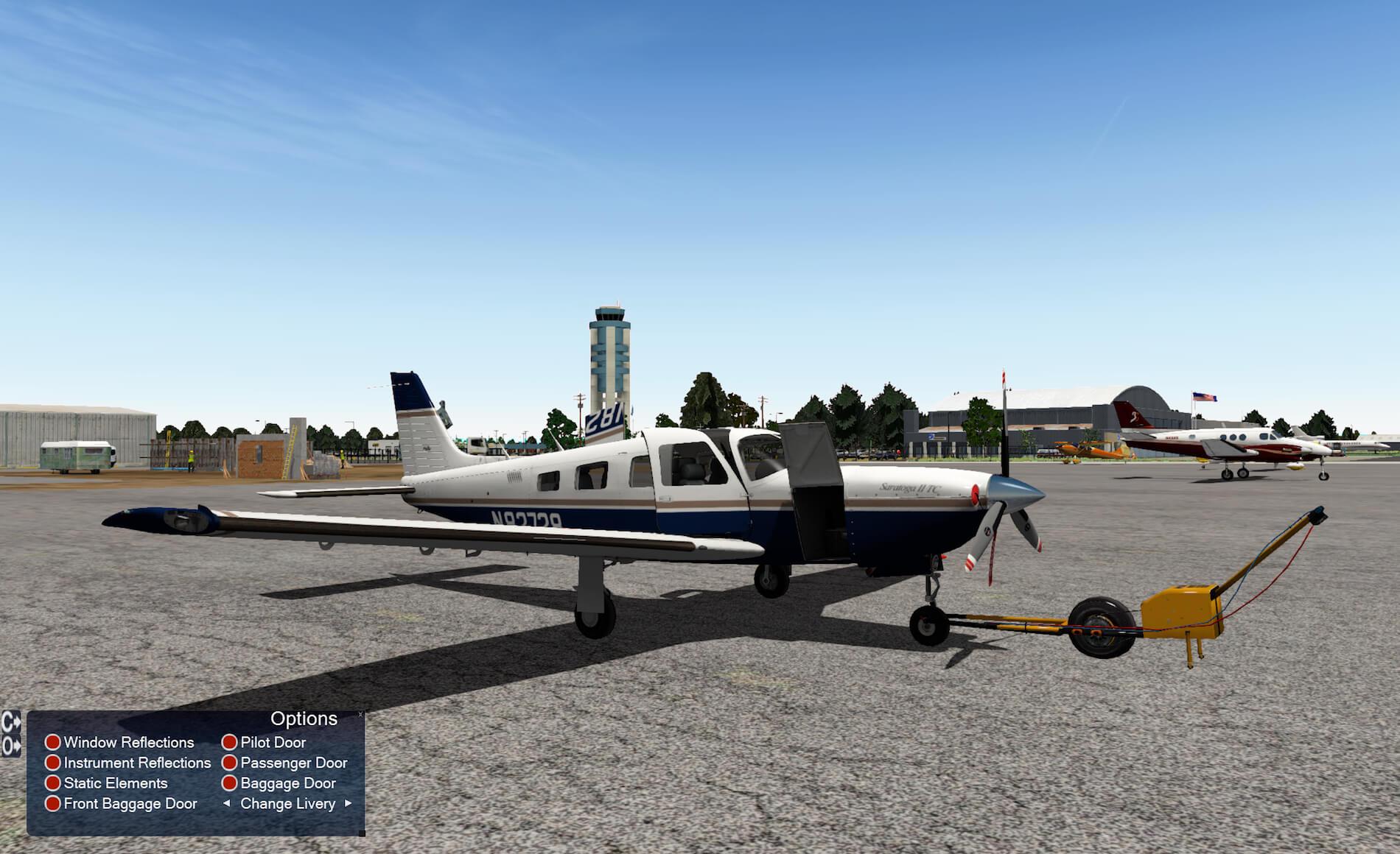 The Saratoga II TC is modeled with several animated doors: – L baggage door  – Pilot door – Passenger doors